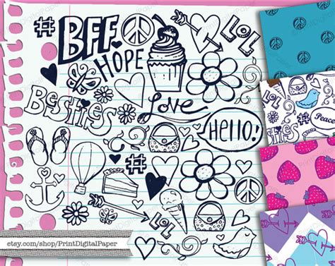 girly doodle ideas notebook doodles digital clip instant clipart