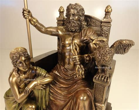 greek god statues king zeus god of thunder hera on throne greek mythology