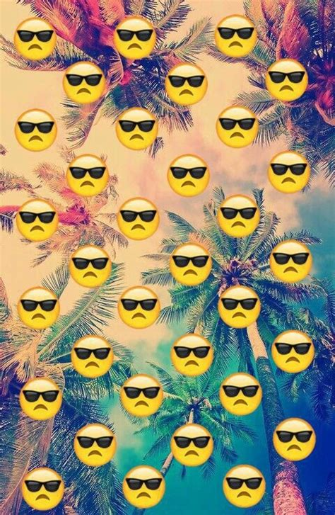emoji sunglasses wallpaper emoji face sunglasses palms colors on we heart it