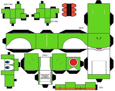 Cubeecraft Papercraft - yoshi cubeecraft by riffshepete on deviantart