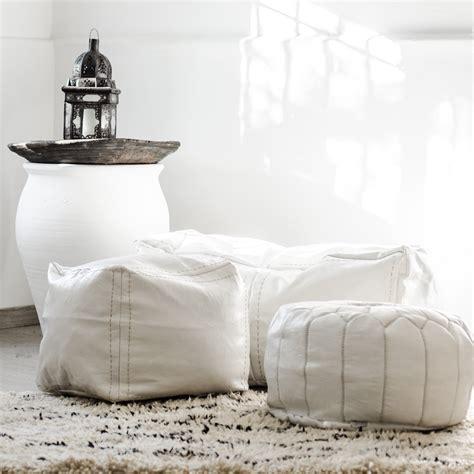 leather square pouf white zoco home
