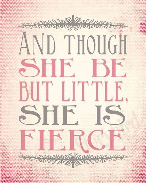 though she be but little she is fierce tattoo pink nursery print set and though she be but she