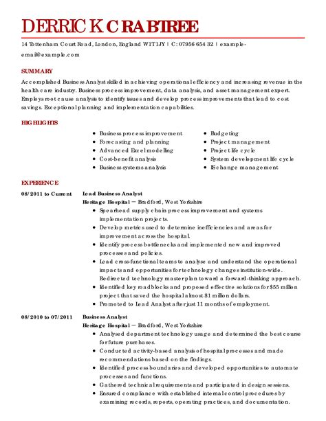analyst resume template business analyst resume sles account manager resume