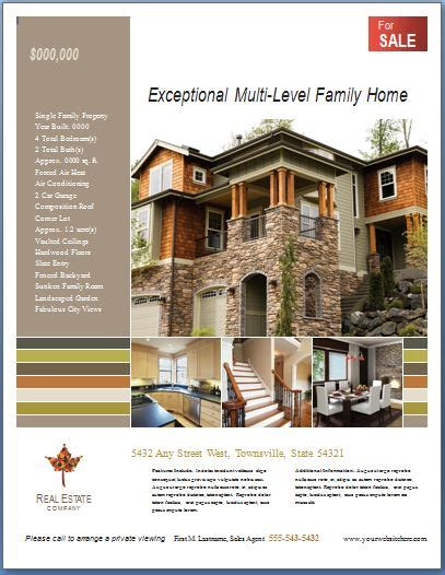 Free Ms Word Real Estate Flyer Template Formal Word Templates Real Estate Brochure Template Publisher