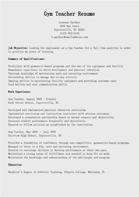 physical fitness trainer resume sle resume sles resume sle