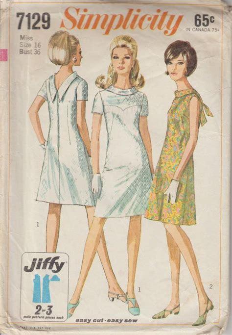 boat neck dress free pattern 1967 boat neck v back mid length dress pattern 1960s