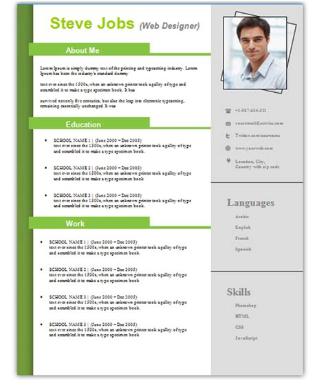 cv template template business