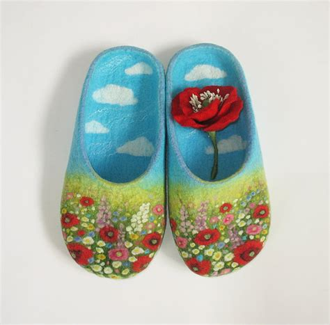 Handmade Felt Slippers - items similar to alpine meadow handmade felt slippers