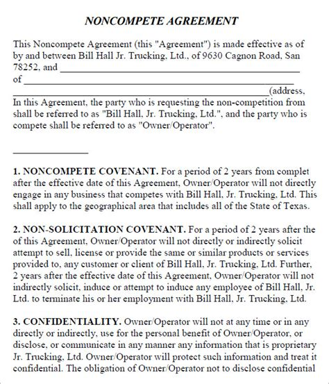 Non Compete Clause Template non compete agreement 7 free pdf doc