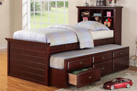 Kid Trundle Bed Set F9220 Bedroom 3pc Set By Poundex In Cherry W Trundle Bed
