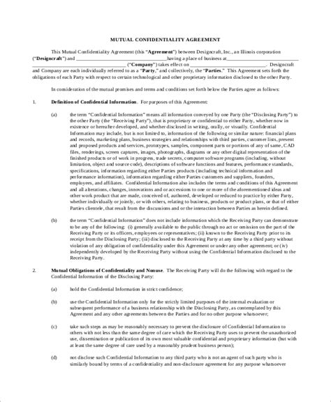 standard confidentiality agreement template sle standard confidentiality agreement 7 documents