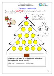 Christmas tree addition special occasions maths worksheets for further