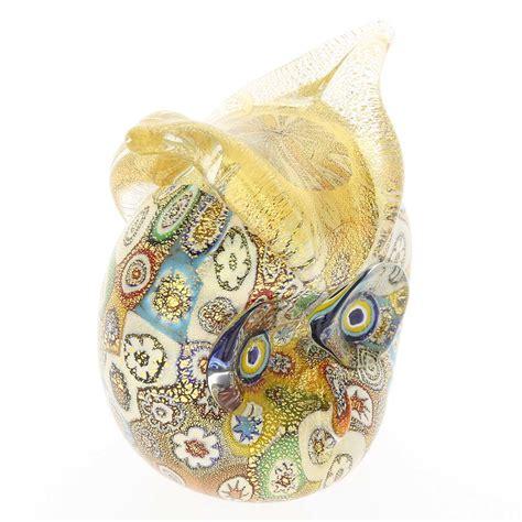 glass owl golden quilt millefiori golden quilt millefiori murano