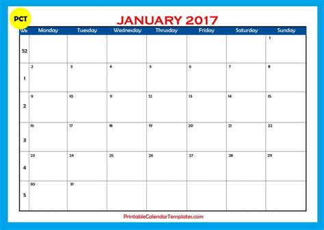 printable calendar january 2017 january 2017 printable calendar templates printable