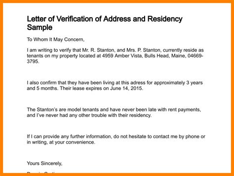 Proof Of Address Sle Letter Landlord 10 owner letter for address proof address exle