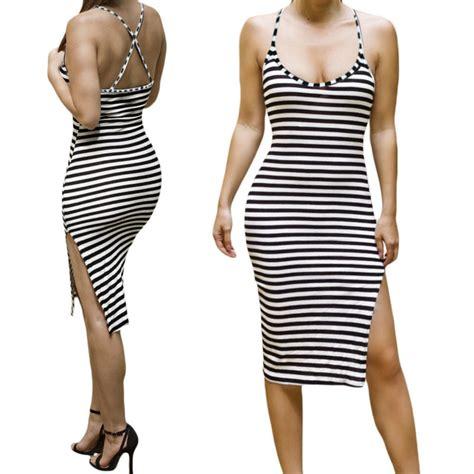 Back Halter Slim Top Diskon bodycon club slim stripe halter dress open back side slit summer dress o neck
