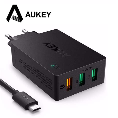 aukey usb charger charge 3 0 3 port usb mobile phone