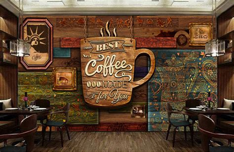 wallpaper for coffee bar custom food store wallpaper wood pattern coffee 3d retro