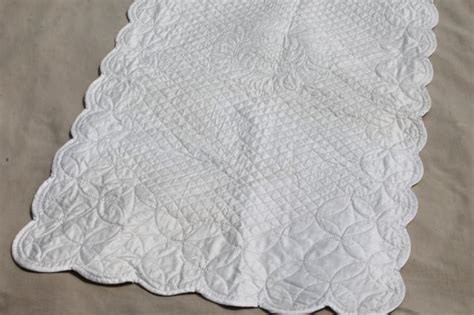 quilted tablecloth table linens vintage whitework elaborately quilted all white cotton