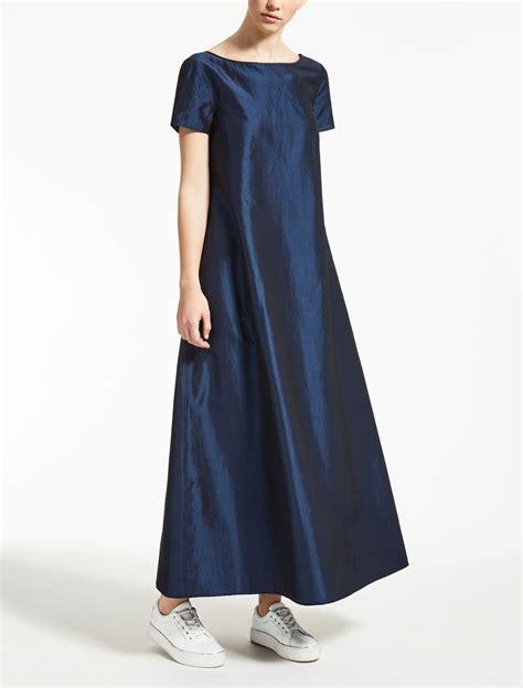 Maxmara Maxi Set abito in lino seta e viscosa bluette quot augusta quot max mara