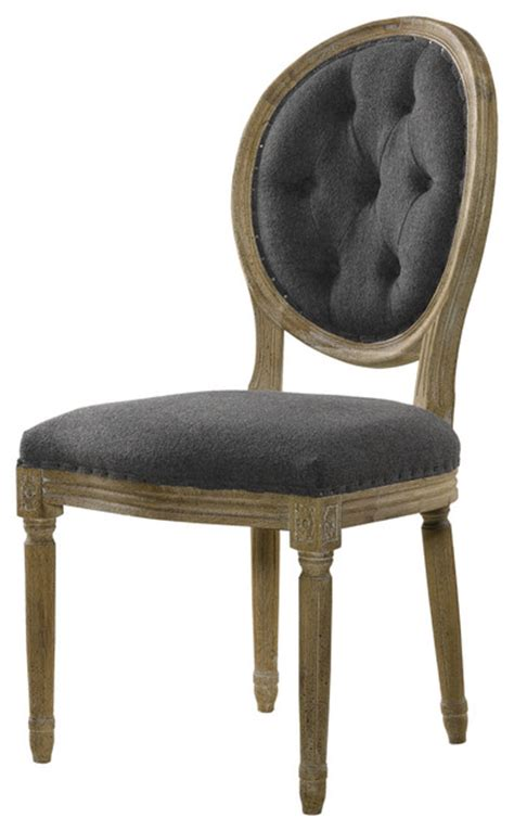 louis side chair tufted wool traditional dining chairs