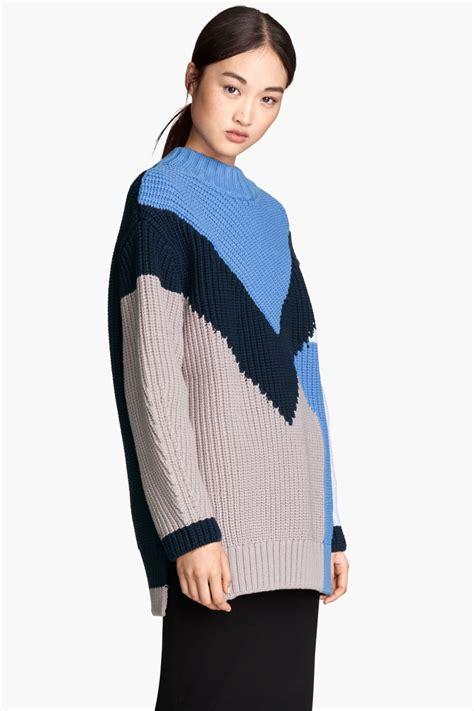 pattern knit sweater h m knit sweater blue sale h m us