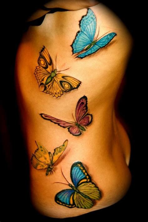 san clemente tattoo three dimensional 3d butterflies on side by monte