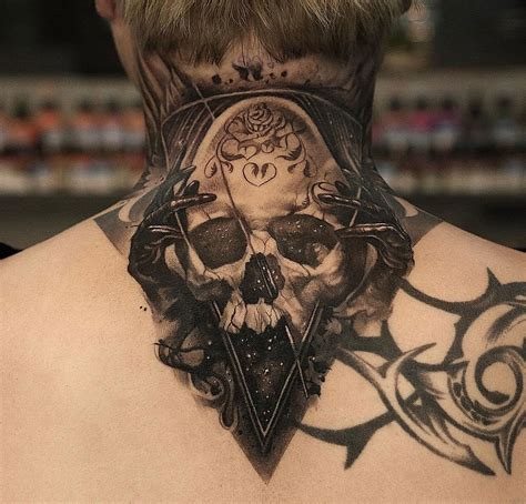 neck piece tattoo space skull mens neck piece best tattoo design ideas