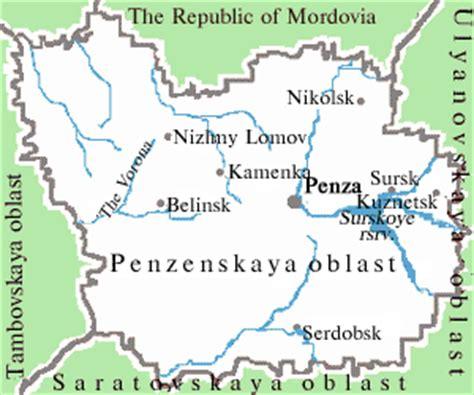 russia penza map cities and towns in penza oblast