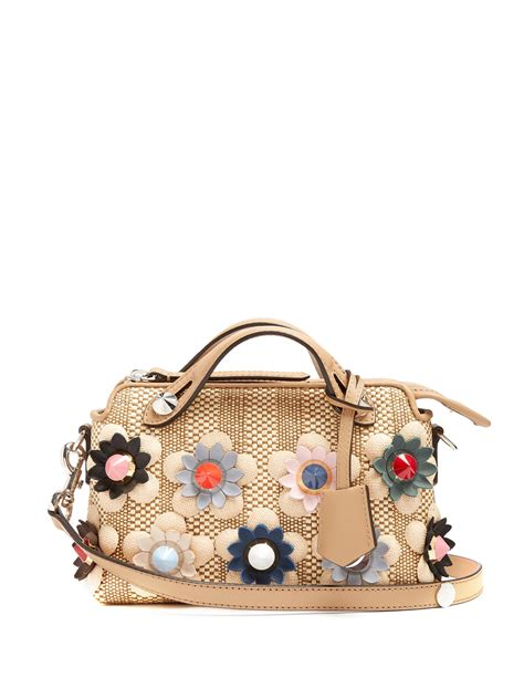 Fendi By The Way Flower Applique Crossbody 8017 fendi by the way mini straw and leather cross bag lyst