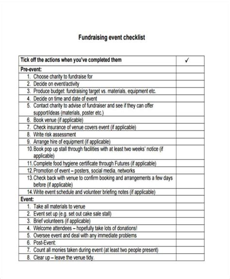 36 Printable Checklist Templates Free Premium Templates Fundraising Event Planning Template