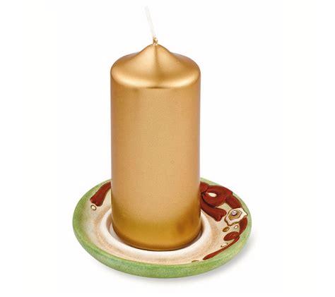 thun candele candela con piattino natalizio verde soft thun