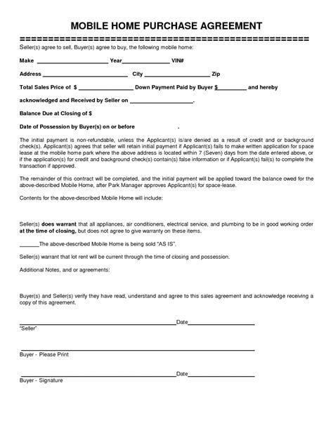 Mobile Home Purchase Agreement Gtld World Congress Home Buyout Agreement Template