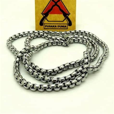 kalung titanium silver anti karat rantai anyam 70 cm kalung rantai titanium persegi pusaka dunia