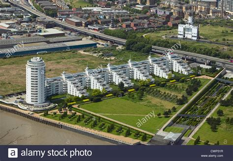 thames barrier park development aerial view of barrier park and barrier point a landmark