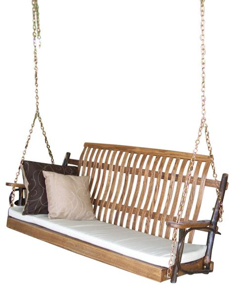porch swing hooks amish hickory porch swing walnut 5 tan swirl cushion