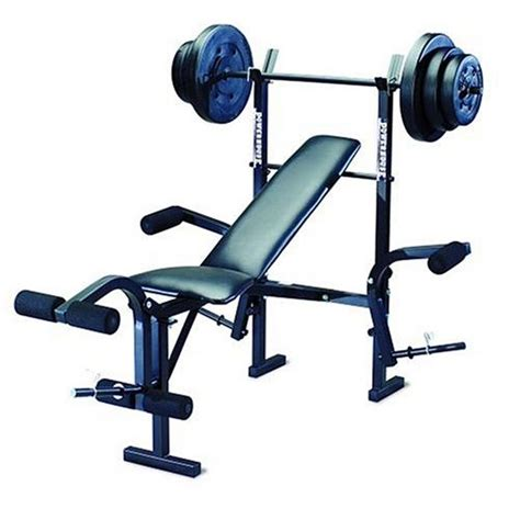 weights bench set powerhouse phc 265 free weight bench includes 100lb