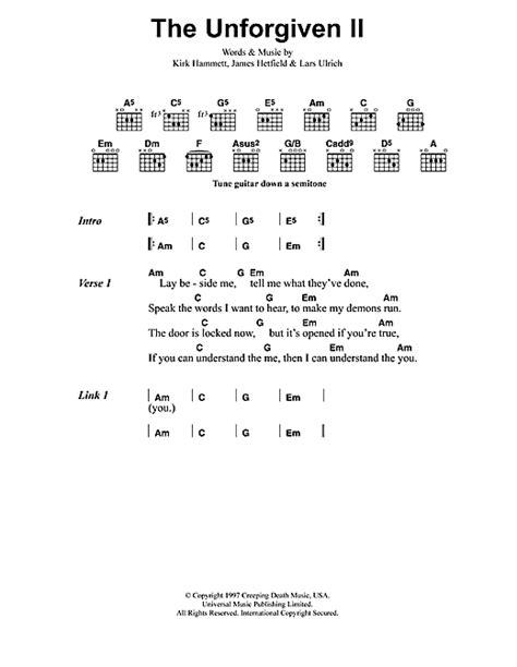 metallica unforgiven 2 lyrics the unforgiven ii sheet music by metallica lyrics