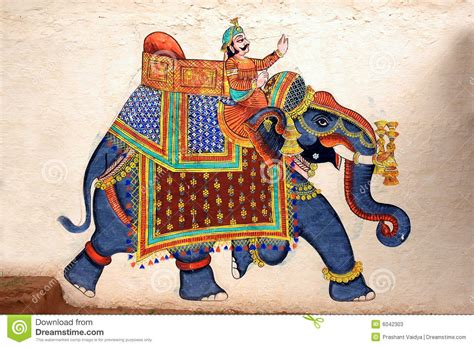 wall painting of elephant at city palace udaipur stock