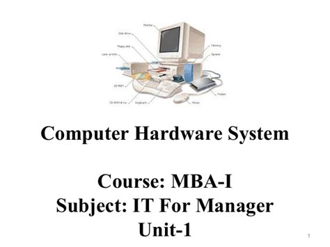 Computer Courses Before Mba by Mba I Ifm U 1 Computer Hardware System