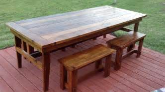 Rustic Wooden Kitchen Table White Rustic Farm Table Benches Diy Projects