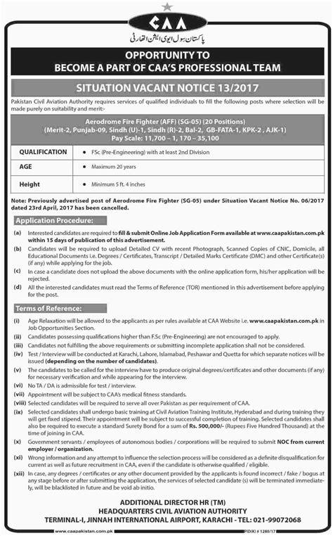 Pakistan Civil Aviation Authority (CAA) Jobs 2017 for 20