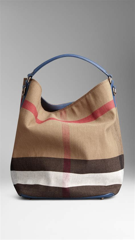 Burberry Check Canvas Hobo by Lyst Burberry Medium Canvas Check Hobo Bag In Blue
