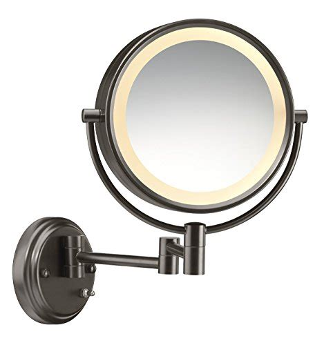 conair sided lighted wall mount mirror brushed nickel conair shaped sided wall mount lighted makeup