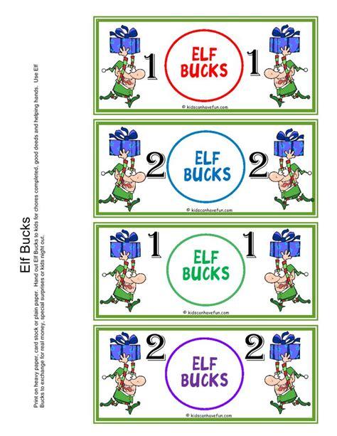 printable christmas elf reward chart elf bucks reward kids earn bucks during the holidays