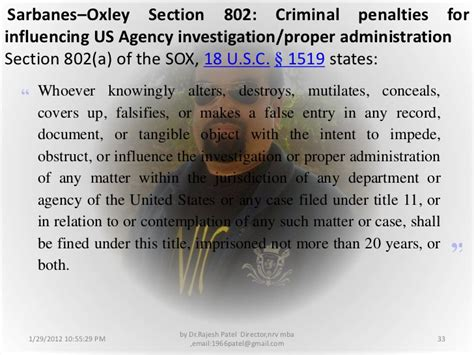 sox section 802 sarbanas oxley act 2002