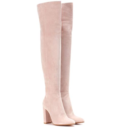 light pink suede boots gianvito exclusive to mytheresa com suede