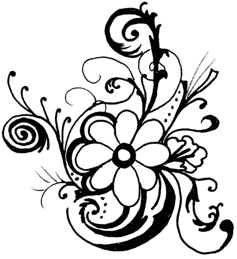 flower pattern black and white clipart flowers clip art black and white cliparts co