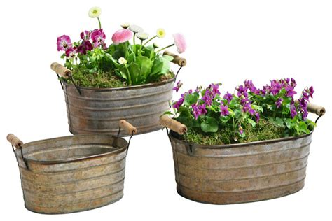 planters and pots metal planter tubs set of 3 rustic outdoor pots and