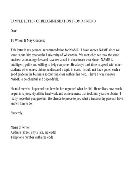 sample recommendation letters ms word